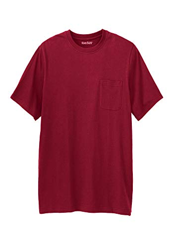 Crewneck Rich - KingSize Men's Big & Tall Shrink-Less Lightweight Longer-Length Crewneck Pocket T-Shirt, Rich Burgundy Big-XL
