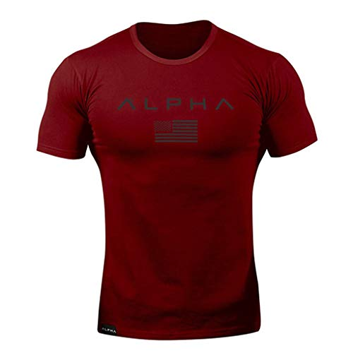 T Camicetta rossa tondo Fit Slim shirt Top Lettera manica Uomo Amlaiworld corta Estate Casual colletto Stampa adWqaC