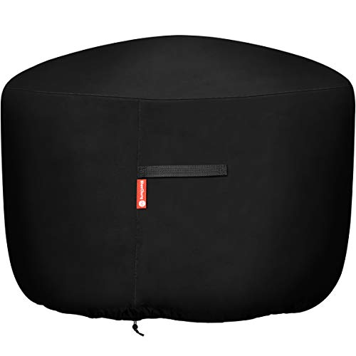 "Round Gas Fire Pit / Table Cover - Heavy Duty 300D Polyester with PVC Coating Material, 100% Weather Resistant and Waterproof, Fits 36 inch,35 inch, 34 inch Fire Pit/Table Cover,Black, 36"" DIA X 24""H"