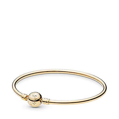 ( PANDORA 14K Gold Bangle Bracelet with Signature Clasp, Gold 14K, 7.5 IN)