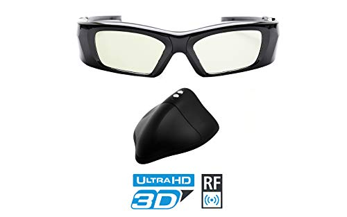 Hi-SHOCK RF Pro 3D Glasses & Emitter for JVC Projector - 90° Degree Polarized | Compatible with Original JVC PK-AG3 Glasses/PK-EM2 Emitter | Better Contrast - Rechargeable [39g | 120 Hz | Set]