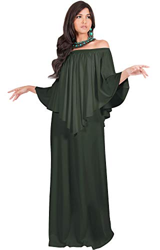 (KOH KOH Plus Size Womens Long Strapless Shoulderless Flattering Cocktail Evening Off The Shoulder Cold Sexy Evening Flowy Formal Slimming Gown Gowns Maxi Dress Dresses, Olive Green XL 14-16)