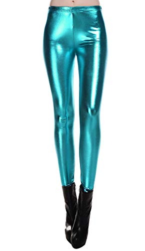 (Liquid Wet Look Shiny Metallic Stretch Leggings (L,)