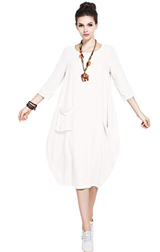 Anysize Soft Linen Cotton Lantern Loose Dress Spring Summer Fall Plus Size Clothing Y19