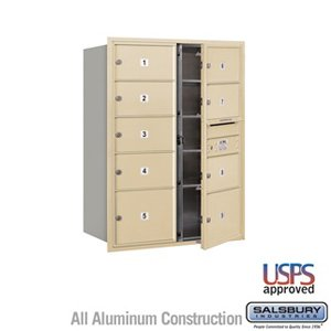 4C Horizontal Mailbox - 11 Door High Unit (41 Inches) - Double Column - 7 MB2 Doors and 2 MB3 Doors - Sandstone - Front Loading - USPS Access