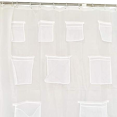 PEVA BELUPAI Cortina de Ducha Transparente antibacteriana con Ganchos y Bolsillos Impermeables 180 cm x 180 cm ecol/ógica sin Olor qu/ímico 71x71inch como en la Imagen