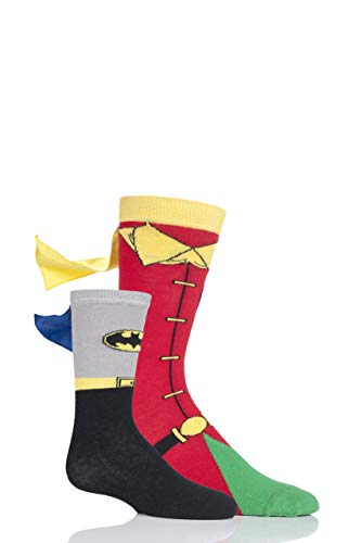 SockShop Adult and Childs Batman and Robin Gift Boxed Cape Socks Pack of 2 Assorted 7-12 and 2-9 -