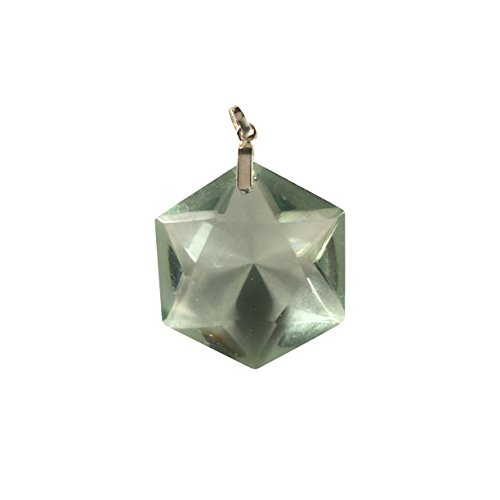 - Green Obsidian Faceted Star of David Solomon Seal Pendant - Crystal Clear Miracles Healing - Powerful Blessing - Hand Faceted Natural Stone