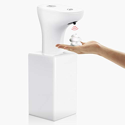 TROPRO Soap Dispenser, Automatic Touchless Foaming Soap Dispenser - Infrared Motion Sensor Liquid Hands-Free Auto Soap Dispenser/Adjustable, Upgraded Waterproof - White【Rechargeable Battery】