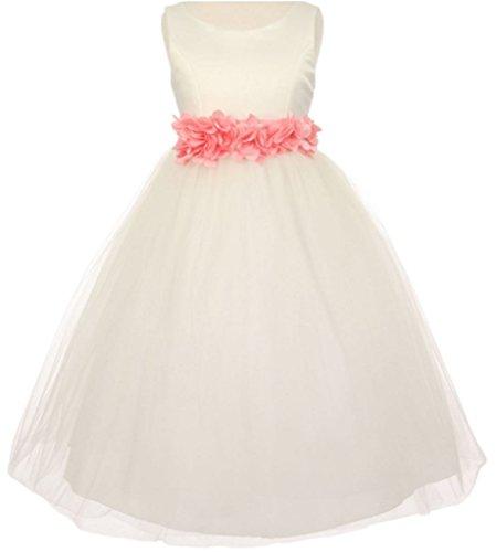 Pink Barbara Ribbon - Little Girls Ivory Elegant Satin Tulle Ribbon Sash Flowers Girls Dresses Pink 4