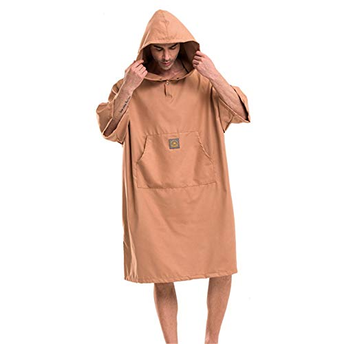(Mens Poncho Towel Men's Surf Poncho Quick Drying Compact Beach Hooded Towel Cover Up Bathrobes Microfiber Changable Clothes Wetsuit Changing Towel Swimming Bath Robe With Hood Pocket Short Sleeve Sand)