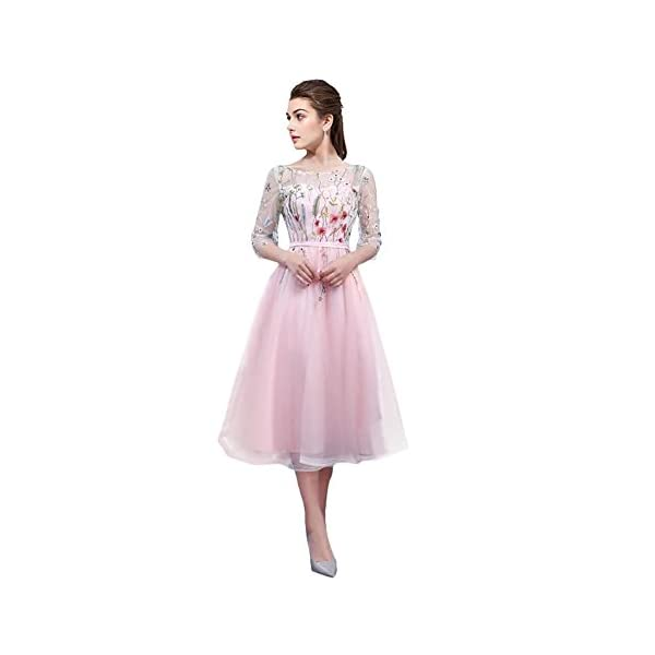 3a7a1537a2 YSMei Women s Tea Length 3 4 Sleeves Evening Prom Dress Embroidered ...