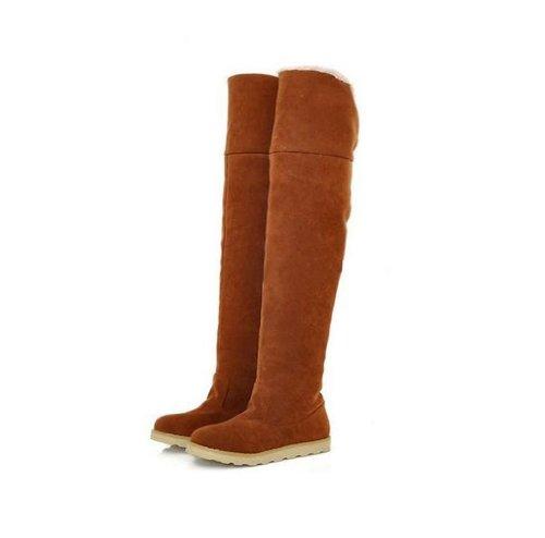 Gaorui Women Winter Flat Thigh High Snow Boots Girl's Over K