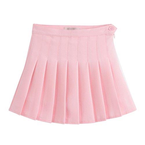 Heheja Femmes/Fille Rtro Mini Jupe Basique Casual Plisse Patineuse Elastique d'cole Jupes Courte Pink