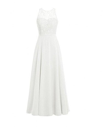 Lace Formal BOwith Prom Ivory Gowns Chiffon Women's Dresses Bridesmaid Evening wSSUIP