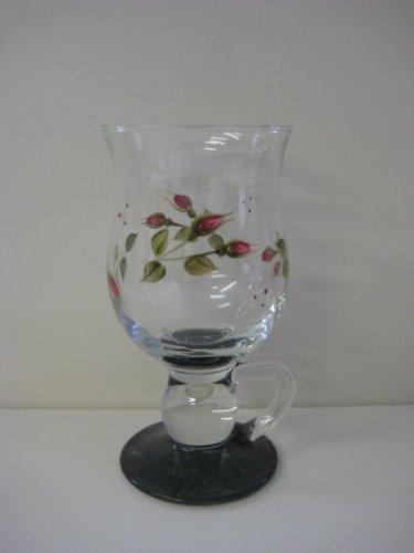Pair of Hand Painted Red Rosebud Design Irish Coffee Glasses