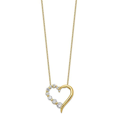 Jewelry Pendants & Charms Journey Sterling Silver Vermeil CZ Heart Journey Necklace ()