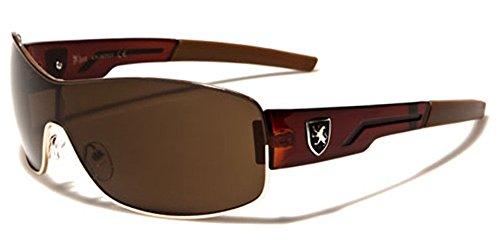 [Wrap Around Sport Cycling Hiking Shield Sunglasses - Gold & Brown] (Gold Wrap Around Sunglasses)