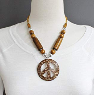 Brown peace sign necklace 20 long plastic wood beads necklace