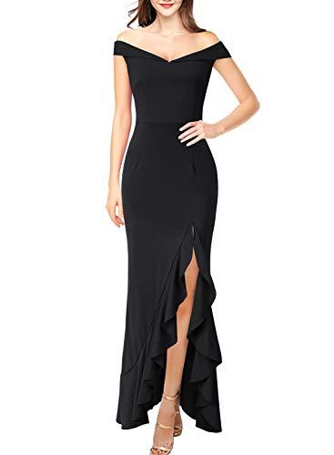 (VFSHOW Womens Off Shoulder Black Asymmetrical Ruffle Split Formal Evening Party Mermaid Maxi Dress 2108 BLK)