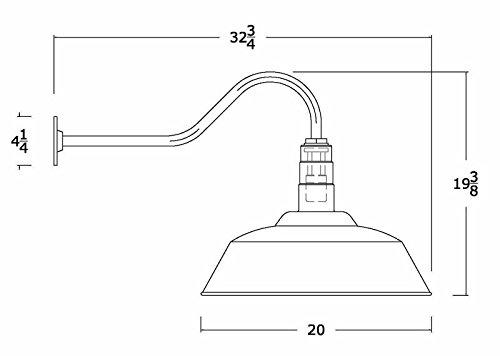 The Standard | 20 Inch RLM Steel Dome | 23 Inch Gooseneck Barn Light (Green)