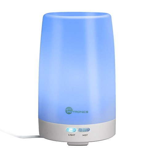 TaoTronics Essential Oil Diffuser, 100ml Ultrasonic Humidifier Portable Aromatherapy Diffuser, Aroma Diffuser with Cool Mist and Color Changing LED Lights, Diffusers for Essential Oils, Silent Buttons