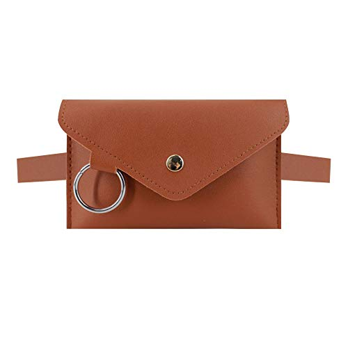 (Danse Jupe Women Mini Envelope Waist Bag PU Leather Clutch Cell Phone Purse Chest Bag Brown)