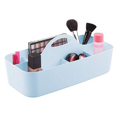 mDesign Plastic Makeup Storage Organizer Caddy Tote – Divided Basket Bin, Handle for Eyeshadow Palettes, Nail Polish…