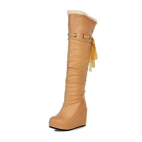 Allhqfashion Women's High-top Pull-on Soft Material High-Heels Round Closed Toe Boots Apricot