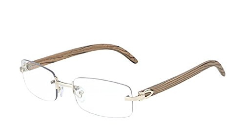 Cartier Glasses (GIFT DEPOT® TM Rimless Rectangular Dapper Metal & Wood Eyeglasses / Clear Lens Sunglasses - Frames (Rose Gold & Light Brown Wood))