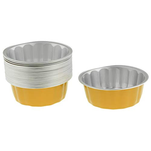 Homyl Round Aluminum Foil Cupcake Bowl Pans, Muffin Ramekin Utility Cup, Tart Quiche Pans, Hot Cold Freezing Roasting Baking Oven Safe - Yellow by Homyl