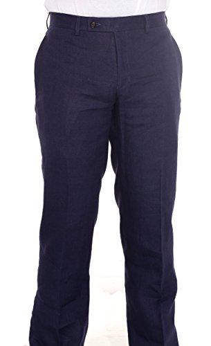 Ralph Lauren Men's Flat Front Solid Navy Linen Dress Pants ()