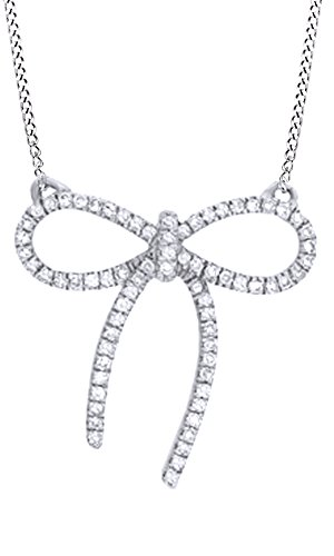 Bow With Diamond Necklace - Jewel Zone US White Natural Diamond Bow Pendant Necklace in 10k White Gold (0.10 Cttw)