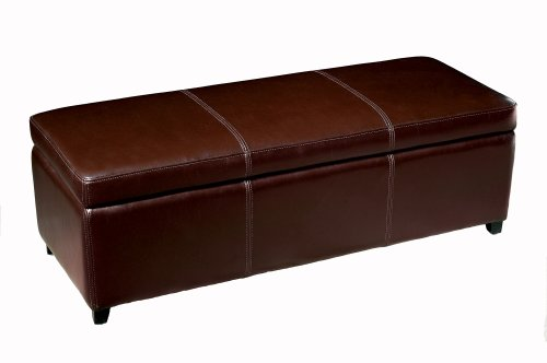 Baxton Studio Enrica Leather Storage Ottoman, Espresso Brown - Full Bycast Leather Ottoman