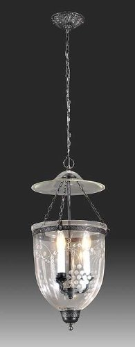 B&P Lamp Large Hall Lantern, Grapes, With Pewter Finish, And Glass Dome by B&P Lamp