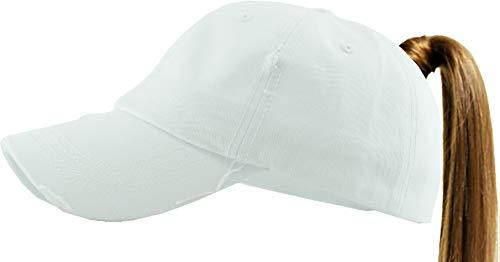 KBETHOS PONY-001 WHT Ponytail Messy High Bun Headwear Adjustable Cotton Trucker Mesh Hat Baseball Cap