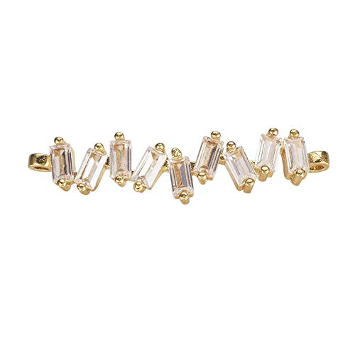 PH PandaHall About 10 pcs Cubic Zirconia Golden Bar Jewelry Connector Rectangle Spacer Brass Metal Link Connector for Jewelry Gift Making 36x8.5mm ()