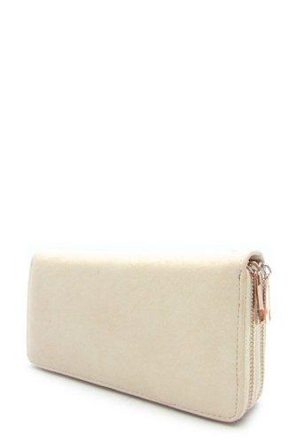 Designer Handbags - DOUBLE ZIPPER WALLET - By Fashion Destination   (Beige) Free Shipping