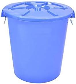 HeWHui ふた屋外ゴミ箱キッチン野菜雑貨ストレージバケットソリッドカラーのゴミ箱付き多機能収納バケツ、缶 古紙バスケット (Color : Blue, Size : 33*33*47CM)