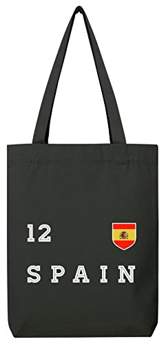 ShirtStreet Espana Spain Fußball WM Fanfest Gruppen Premium Bio Baumwoll Tote Bag Jutebeutel Stanley Stella Trikot Spanien Black lqmb79M