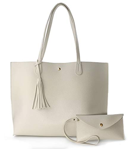 (Minimalist Clean Cut Pebbled Faux Leather Tote Womens Shoulder Handbag (Beige))