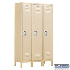 Salsbury Industries Assembled 1-Tier Extra Wide Standard Metal Locker with Three Wide Storage Units, 6-Feet High by 15-Inch Deep, Tan