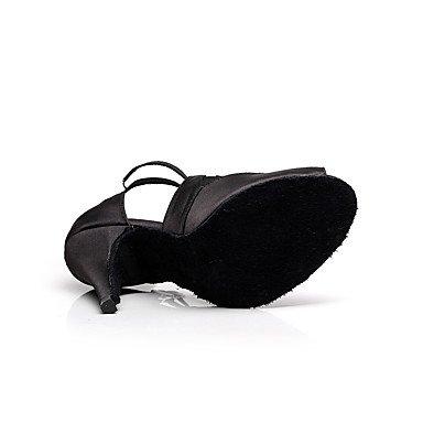XIAMUO Women's Dance Schuhe Synthetische synthetische Latin/Salsa Sandalen Ferse Professional/Innen, Schwarz, US 9 / EU 40/UK7/CN41