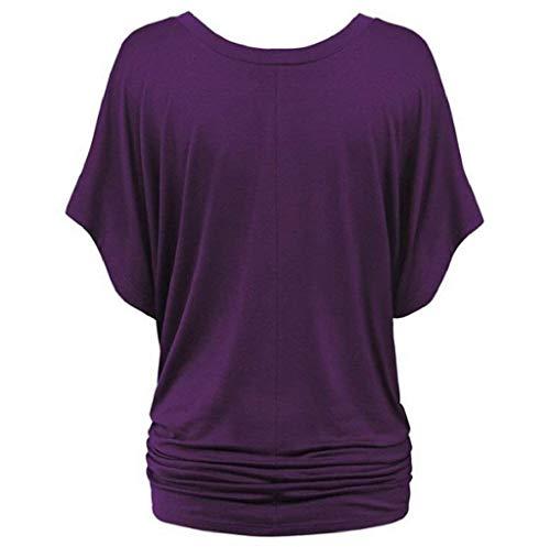 Casual Casual Bouffant Tshirts Tee Lilas Fille Souris Cou Elgante Uni Shirt Shirt Manches Et Plier Shirts Femme Mode Branch Classique V Courtes Manche Chauve fqpTawfRF1