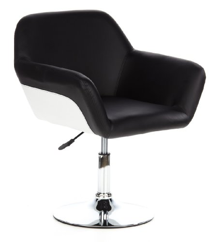 hjh OFFICE, 685940, Single seater, lounge chair, lounger, couch chair, tub chair, swivel, ROUND, black, artificial leather, faux leather, thick padded lounge chair, with stylish chrome stand, height adjustable, multicolor ()