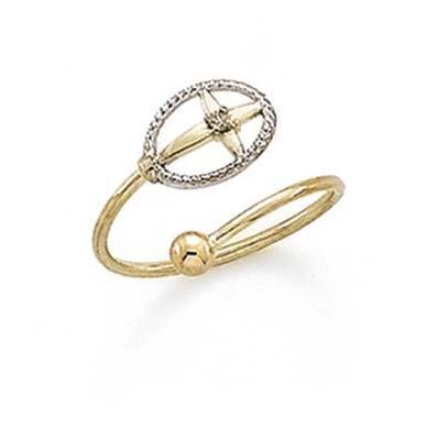 - 14k Two-Tone Gold Diamond Cross Circle Toe Ring