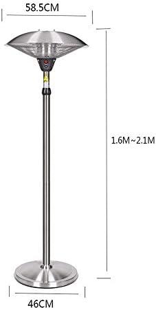 360°傘型電気ヒーター| 2100W垂直商用アルミニウム屋外ダブルハロゲンヒーター| IP44防水グレード| 3秒高速加熱|高さ調節可能1.6〜2.1メートル|接地電源障害安全保護付き