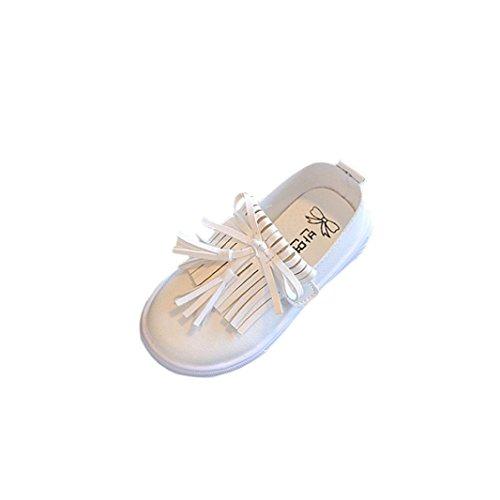 HUHU833 Sommer Kind Art- und Weise Quasten Schuhe Mädchen Sandalen Prinzessin Schuhe Flache Schuhe Freizeitschuhe Weiß