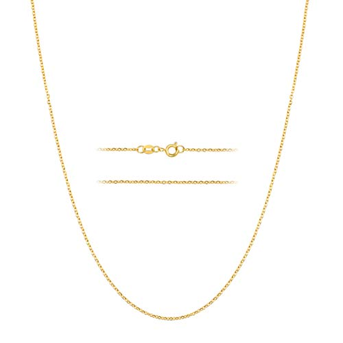 MAJU Designers 24k Gold Over Stainless Steel 1.5mm Thin Cable Link Chain Necklace, 14 inch