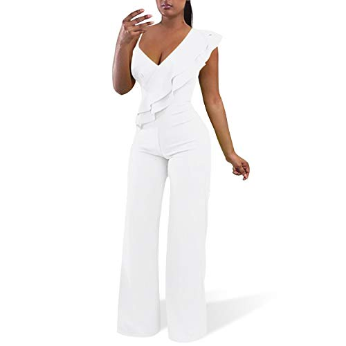 Cosics White Jumpsuits for Women Elegant, V-Neck Ruffled One Piece Jumpsuits & Rompers with Wide Leg (Size: 12W-14W)